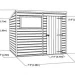 8' x 6' Single Door Tongue and Groove Pent Shed Overall View