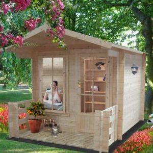 8' x 8' Shire Maulden Log Cabin with Veranda