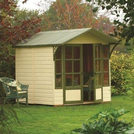 the rowlinson eaton summer house offers a classic design and natural timber colour that make this summer house blend into your garden with ease - Garden Sheds 7 X 9