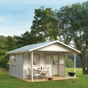 Grosfillex Deco 20A Plastic Shed in White Pale Green Colour