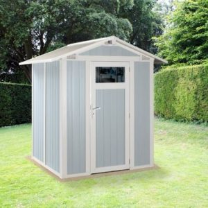 Grosfillex Utility 3B Plastic Shed in Pale Blue White Colour
