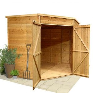 BillyOh Windowless Gardeners Corner Shed Opened Door