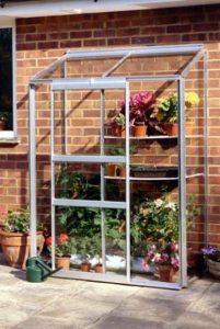 Halls Silver Aluminium Lean to Wall Garden 4 x 2 Metal Greenhouse