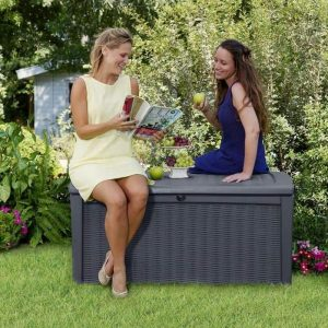 Keter Borneo Rattan Style 400L Garden Storage Box great seating