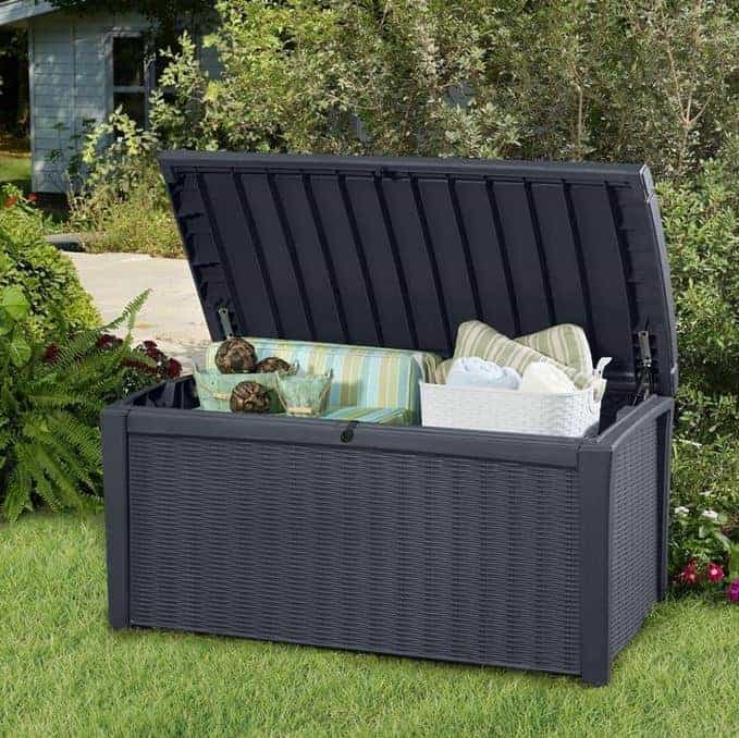 here is a high quality box that has excellent features such as uv resistant materials and an automatic opening mechanism it is tough too and big enough - Garden Storeage Boxes