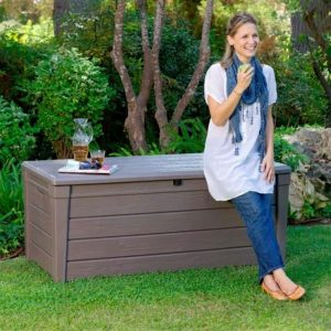 Keter Brightwood Plastic Garden Storage Box with Seat - 455 Litre Capacity Open.JPG Can be seated