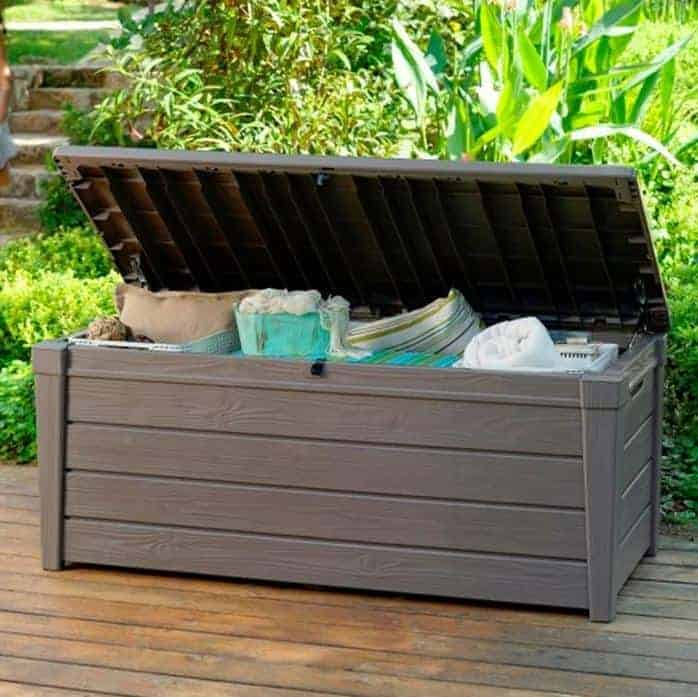keter brightwood plastic garden storage box with seat 455 litre