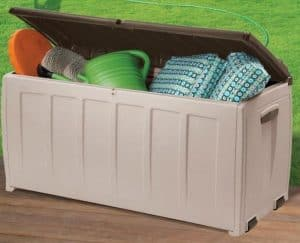 Keter Plastic Garden Storage Box with Seat - 340 Litre Capacity open