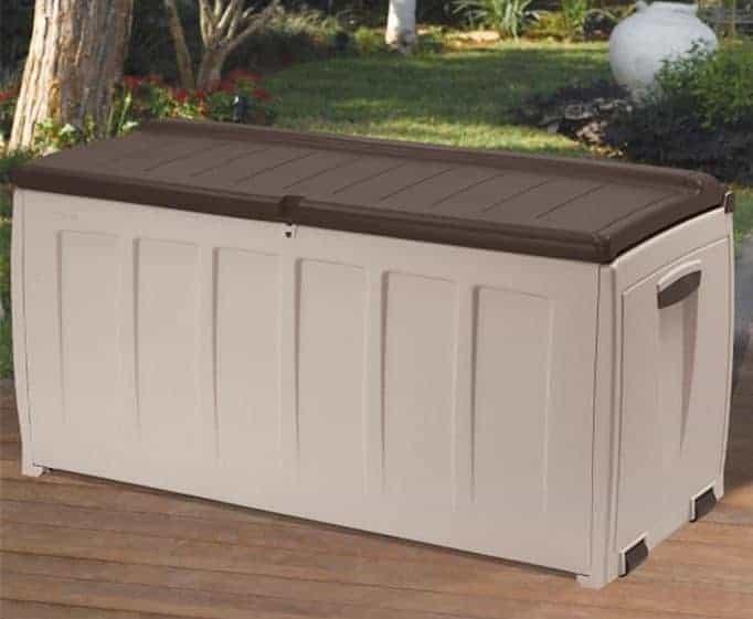 keter plastic garden storage box with seat 340 litre. Black Bedroom Furniture Sets. Home Design Ideas