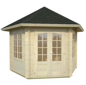 10' x 10' Palmako Hanna 34mm Log Cabin Closed Door