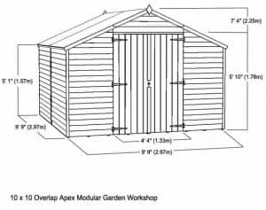 10 x 10 Waltons Overlap Apex Modular Garden Workshop Overall Dimensions