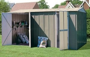10' x 17' Shed Baron Grandale Metal Workshop Open Doors