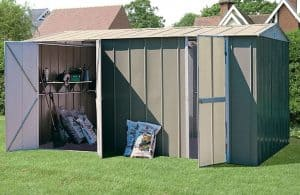 10' x 19' Shed Baron Grandale Metal Workshop Open Doors