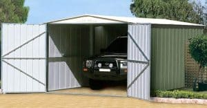 10' x 19' Shed Baron Grandale Utility Metal Garage Open Doors