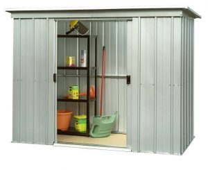 10' x 4' Yardmaster 104PZ Metal Pent Shed Double Sliding Door Open