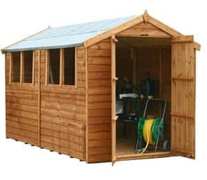 10 x 6 Waltons Overlap Apex Wooden Shed Double Doors Open