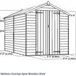 10 x 6 Waltons Overlap Apex Wooden Shed Overall Dimensions