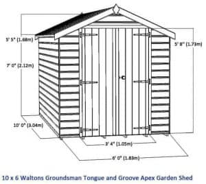 10 x 6 Waltons Windowless Groundsman Tongue and Groove Apex Garden Shed Overall Dimensions