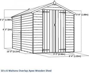 10 x 6 Waltons Windowless Overlap Apex Wooden Shed Overall Dimensions