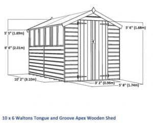 10 x 6 Waltons Windowless Tongue and Groove Apex Wooden Shed Overall Dimensions