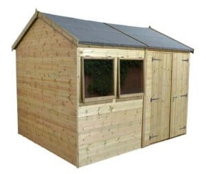 10' x 8' Shed-Plus Champion Heavy Duty Reverse Apex Double Door Shed Unpainted
