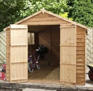 10 x 8 Waltons Overlap Apex Wooden Shed Double Doors Open