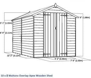 10 x 8 Waltons Overlap Apex Wooden Shed Overall Dimensions