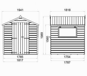 10 x 8 Waltons Premium Shiplap Double Door Apex Shed Overall Dimensions