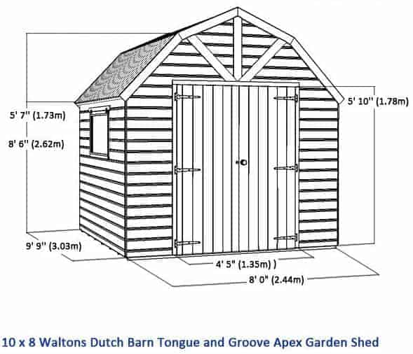 10 x 8 waltons windowless dutch barn tongue and groove garden shed overall dimensions