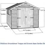 10 x 8 Waltons Windowless Groundsman Tongue and Groove Apex Garden Shed Overall Dimensions
