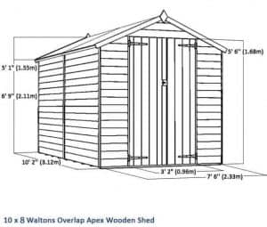 10 x 8 Waltons Windowless Overlap Apex Wooden Shed Overall Dimensions