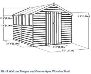10 x 8 Waltons Windowless Tongue and Groove Apex Wooden Shed Overall Dimensions