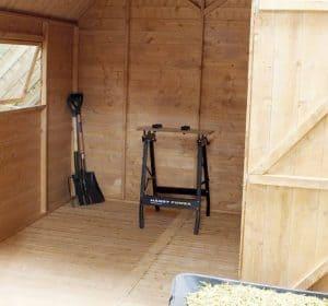 10' x 8' Windsor Groundsman Dutch Barn Shed Inside View