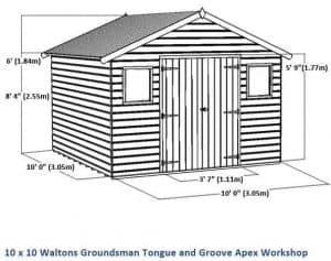 10x10 Waltons Groundsman Windowless Tongue and Groove Workshop Overall Dimensions