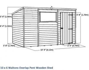 10x6 Waltons Overlap Pent Wooden Shed Overall View