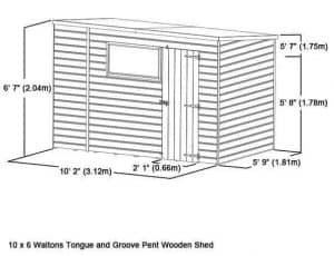 10x6 Waltons Select Tongue and Groove Pent Shed (No Windows) Overall Dimensions