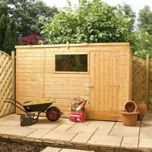 10x6 Waltons Tongue and Groove Pent Wooden Shed Closed Door