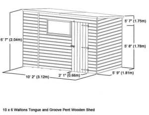 10x6 Waltons Tongue and Groove Pent Wooden Shed Overall Dimensions