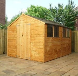 10x8 Waltons Tongue and Groove Apex Wooden Shed Closed Door