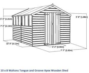 10x8 Waltons Tongue and Groove Apex Wooden Shed Overall Dimensions