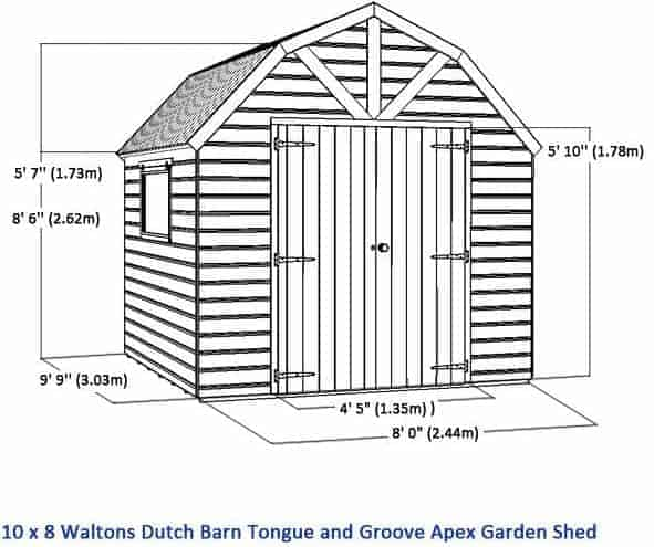 10x8 waltons windowless dutch barn tongue and groove garden shed overall dimensions