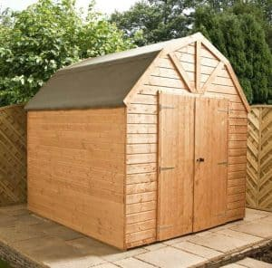 10x8 Waltons Windowless Dutch Barn Tongue and Groove Garden Shed Side View