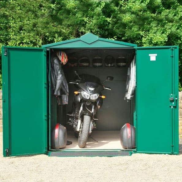 11 x 5 asgard motorcycle secure storage garage plus what. Black Bedroom Furniture Sets. Home Design Ideas