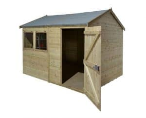 12' x 10' Shed-Plus Champion Heavy Duty Reverse Apex Single Door Shed Unpainted