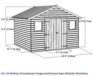 12 x 10 Waltons Groundsman Windowless Tongue and Groove Modular Workshop Overall Dimensions
