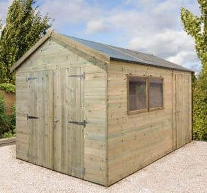 12' x 8' Shed-Plus Champion Heavy Duty Combination Double Door Shed Closed Door