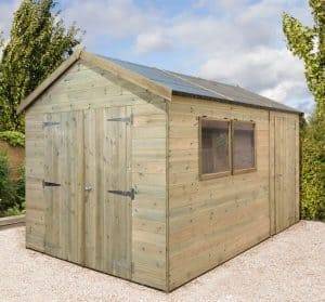 12' x 8' Shed-Plus Champion Heavy Duty Combination Single Door Shed Closed Doors