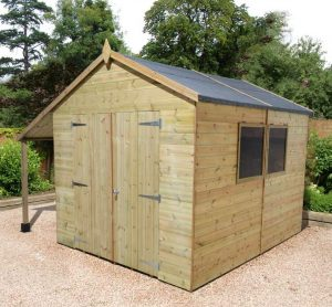 12' x 8' Shed-Plus Champion Heavy Duty Workshop with Logstore - Closed Doors