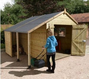 12' x 8' Shed-Plus Champion Heavy Duty Workshop with Logstore - Double Doors