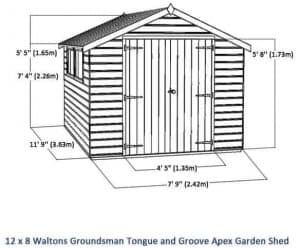 12x8 Waltons Groundsman Tongue and Groove Apex Garden Shed Overall View